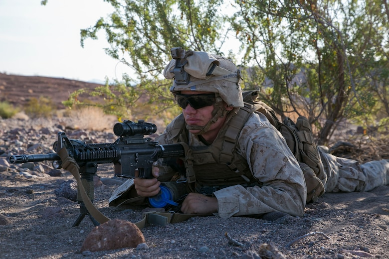 Lance Cpl. Matthew Meyers, rifleman, 3rd Battalion, 2nd Marine Regiment, provides security during a defensive exercise as part of the final exercise of Integrated Training Exercise 3-16 in the Blacktop Training Area aboard Marine Corps Air Ground Combat Center, Twentynine Palms, Calif., June 2, 2016. (Official Marine Corps photo by Lance Cpl. Dave Flores/Released)