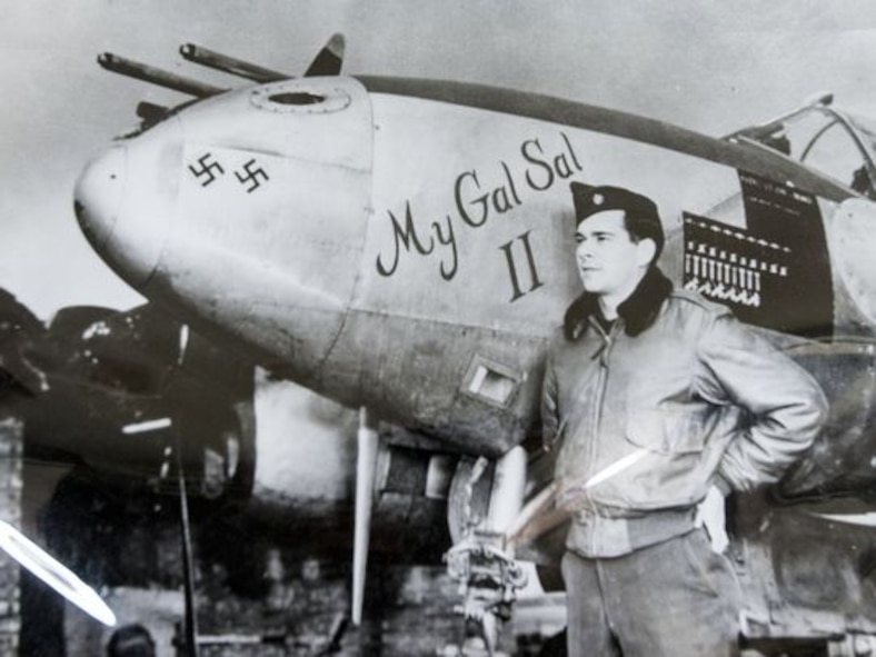 The 460th Operations Group, Detachment 1, Boulder, Colo. won the 2015 Gen. Seth J. McKee Award, which recognizes the best overall Space Warning Squadron in Air Force Space Command that made the most significant contributions in support of the overall space mission. McKee, then a lieutenant colonel, and his P-38 Lightning, named for his wife, during World War II. The two swastikas represent German planes he shot down before D-Day. (Courtesy photo by Pat Shannahan)