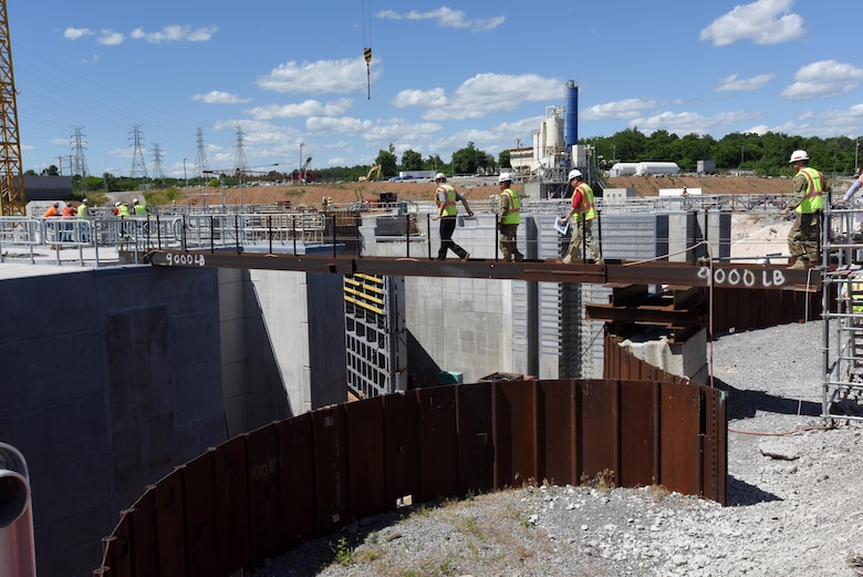 Lt. Gen. Todd T. Semonite, U.S. Army Corps of Engineers commander and chief of engineers, tours the Kentucky Lock Addition Project during a visit to the project in Grand Rivers, Ky., June 7, 2016 where the Nashville District is building a new 1,200-foot by 110-foot lock next to the existing 600-foot by 110-foot lock..