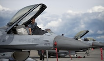 A Republic of Singapore Air Force (RSAF) maintainer assigned to Luke Air Force Base, Ariz., secures an RSAF F-16 Fighting Falcon after a RED FLAG-Alaska (RF-A) 16-2 morning sortie June 7, 2016, on the Eielson Air Force Base, Alaska, flight line. The invitation and participation of the RSAF in exercises such as RF-A 16-2 further demonstrates the United States' commitment to maintaining stability in the Pacific. (U.S. Air Force photo by Capt. Elias Zani/Released)