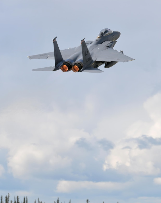 A U.S. Air Force F-15E Strike Eagle all-weather, highly maneuverable, dual-role fighter assigned to the 494th Fighter Squadron out of Royal Air Force Lakenheath, England, takes off from Eielson Air Force Base, Alaska, June 6, 2016, during RED FLAG-Alaska (RF-A) 16-2. RF-A missions are conducted over the Joint Pacific Alaska Range Complex, which provides more than 67,000 square miles of airspace that includes one conventional bombing range and two tactical bombing ranges containing 510 different types of targets and 45 threat simulators, providing units like the Liberty Wing a realistic training environment. (U.S. Air Force photo by Master Sgt. Karen J. Tomasik/Released)