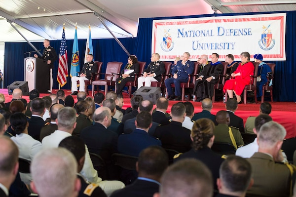 Marine Corps Gen. Joe Dunford, chairman of the Joint Chiefs of Staff, delivers the commencement speech during the National Defense University's 2016 graduation ceremony at Fort Lesley J. McNair in Washington, D.C., June 9, 2016. The university provides military education to senior leaders. DoD photo by Army Staff Sgt. Sean K. Harp