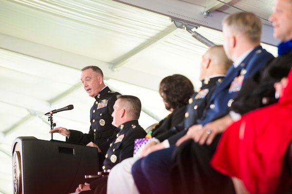 Marine Corps Gen. Joe Dunford, chairman of the Joint Chiefs of Staff, delivers the commencement speech at the National Defense University's 2016 graduation ceremony at Fort Lesley J. McNair in Washington, D.C., June 9, 2016. DoD photo by Army Staff Sgt. Sean K. Harp