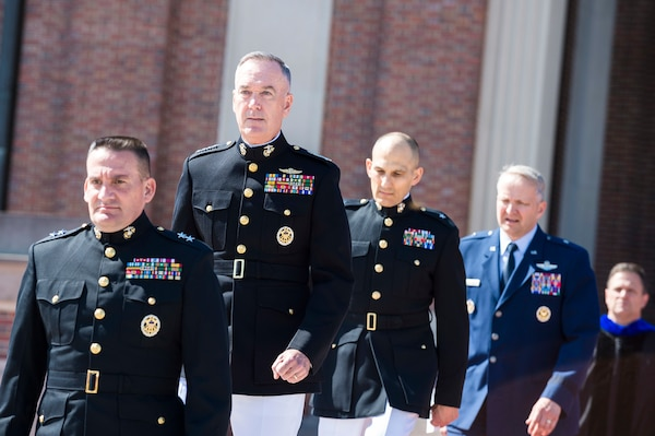Marine Corps Gen. Joe Dunford, chairman of the Joint Chiefs of Staff, attends the National Defense University's 2016 graduation ceremony at Fort Lesley J. McNair in Washington, D.C., June 9, 2016.  DoD photo by Army Staff Sgt. Sean K. Harp