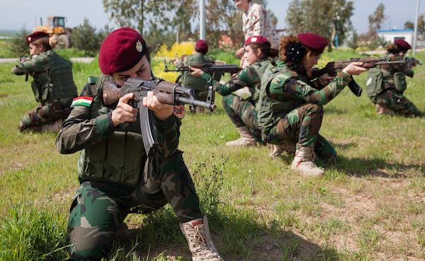 Female Zeravani soldiers, who are a branch of the Peshmerga, attend a three-week basic infantry skills course intended to improve their tactical knowledge to aid in the fight against the Islamic State of Iraq and the Levant.  (U.S. Army photo by Spc. Jessica Hurst)