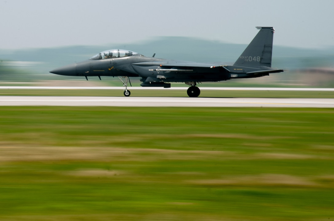 A Republic of Korea air force F-15K Slam Eagle from 11th Fighter Wing takes off from Osan Air Base, Republic of Korea, during Buddy Wing 16-5 June 9, 2016.  Buddy Wing missions are an opportunity for pilots to integrate their service-specific fundamentals of air-to-air combat training.(U.S. Air Force photo by Staff Sgt. Jonathan Steffen/Released)