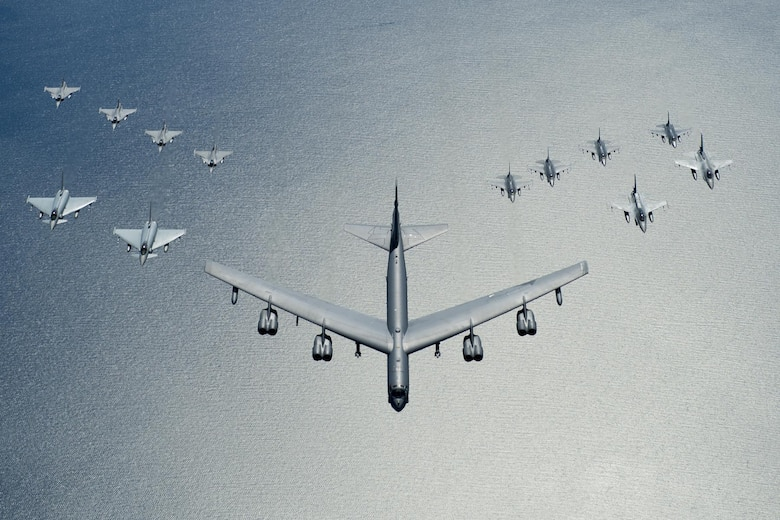 A U.S. Air Force B-52 Stratofortress leads a formation of aircraft including two Polish air force F-16 Fighting Falcons, four U.S. Air Force F-16 Fighting Falcons, two German Eurofighter Typhoons and four Swedish Gripens over the Baltic Sea, June 9, 2016. The formation was captured from a KC-135 from the 434th Air Refueling Wing, Grissom Air Force Base, Indiana as part of exercise BALTOPS 2016. (U.S. Air Force photo/Senior Airman Erin Babis)