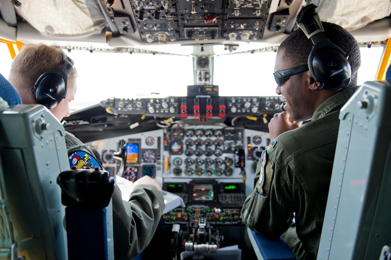 Capt. Norman Popp (left) and 1st Lt. Zico Bruce, 100th Air Refueling Wing KC-135 Stratotanker pilots, prepare for take off before a refueling mission over the Baltic Sea during Baltic Operations 2016, June 9, 2016, Powidz Air Base, Poland. (U.S. Air Force photo/Senior Airman Erin Babis)