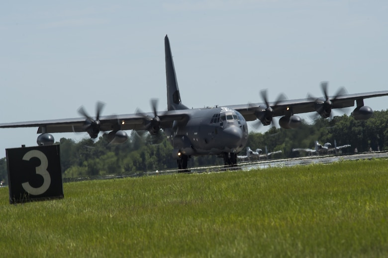 An HC-130J Combat King II arrives June 9, 2016, at Moody Air Force Base, Ga, The landing marked the joining of the ninth and final HC-130J to the 71st Rescue Squadron's fleet. (U.S. Air Force photo by Senior Airman Ceaira Tinsley/Released)
