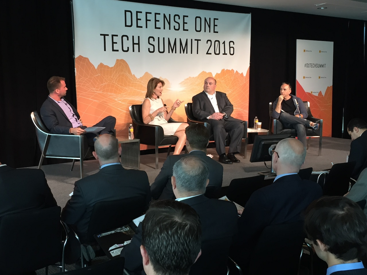Defense Digital Service Director Chris Lynch, right, explains how his office works within the Pentagon during a presentation at the Defense One Tech Summit in Washington, June 10, 2016. DoD photo by Jim Garamone