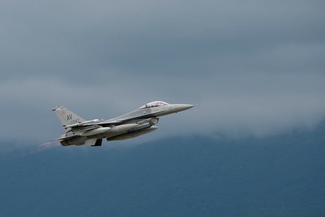 A 510th Fighter Squadron F-16 Fighting Falcon departs Aviano Air Base, Italy, for Lask, Poland, to participate in Aviation Detachment 16-3 in support of Operation Atlantic Resolve on June 1, 2016. Airmen from the 31st Fighter Wing will join Air guardsmen from the 138th FW and 239th Combat Communications Squadron to participate in the bilateral training with the Polish Air Force and other NATO and allied partners. (U.S. Air Force photo/Senior Airman Krystal Ardrey)