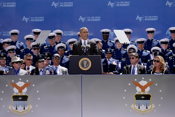 President Barack Obama delivers the commencement address to the U.S. Air Force Academy class of 2016 at Falcon Stadium in Colorado Springs, Colo., June 2, 2016. More than 820 cadets graduated to become the newest second lieutenants in the Air Force. (U.S. Air Force photo/Mike Kaplan)