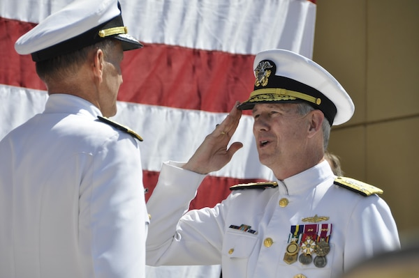160610-N-IJ355-048 WASHINGTON (June 10, 2016) Vice Adm. Thomas Moore relieves Vice Adm. William Hilarides as commander, Naval Sea Systems Command (NAVSEA) during a change of command ceremony today at the Washington Navy Yard. NAVSEA provides centralized surface ship life cycle maintenance engineering, class maintenance and modernization planning, and management of maintenance strategies. (U.S. Navy Photo by Alan Baribeau/Released)