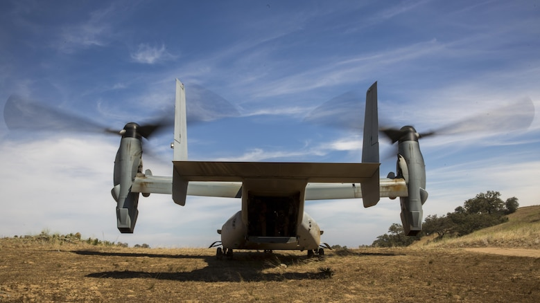 An MV-22B Osprey with Marine Medium Tiltrotor Squadron 165, prepares for takeoff during controlled area landing training at Marine Corps Base Camp Pendleton, California, June 8. The training consisted of landing and taking off in less familiar areas to increase awareness of different types of landing zones.