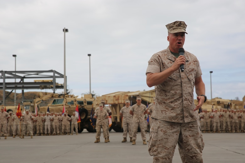 MARINE CORPS BASE CAMP PENDLETON, Calif. –  Lt. Col. Colin Smith, the commanding officer of 1st Combat Engineer Battalion, 1st Marine Division, gives remarks during a rededication ceremony as part of the unit's 75th anniversary at Camp Pendleton May 26, 2016. After touring the area, 1st CEB hosted a rededication ceremony, where Smith recognized service members and veterans who once served with the battalion. (U.S. Marine Corps photo by Cpl. Demetrius Morgan/RELEASED)