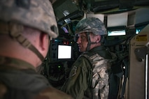 U.S. Air Force Col. Patrick McAtee, the Virginia Air National Guard's 192nd Operations Group commander out of Joint Base Langley-Eustis, Va., serving on temporary duty as the deployed forces commander for RED FLAG-Alaska 16-2, sits in the remote control gunning station inside an M1126 Stryker Combat Vehicle while visiting the Joint Pacific Alaska Range Complex, June 8, 2016, during RED FLAG-Alaska (RF-A) 16-2. RF-A provides unique opportunities to integrate various forces into joint, coalition and multilateral training from simulated forward operating bases. (U.S. Air Force photo by Staff Sgt. Shawn Nickel/Released)
