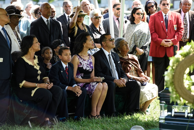 Former 2nd Lt. Malvin G. Whitfield's family and friends attended his graveside service at Arlington National Cemetery, Va., June 8, 2016. Whitfield served in the Army Air Forces as a Tuskegee Airman during World War II and then in the Air Force during the Korean War. He is survived by his daughters Nyna Konishi and Fredricka Whitfield, son Malvin Whitfield Jr., and wife Nola Whitfield. (U.S. Air Force photo/Staff Sgt. Alyssa C. Gibson)