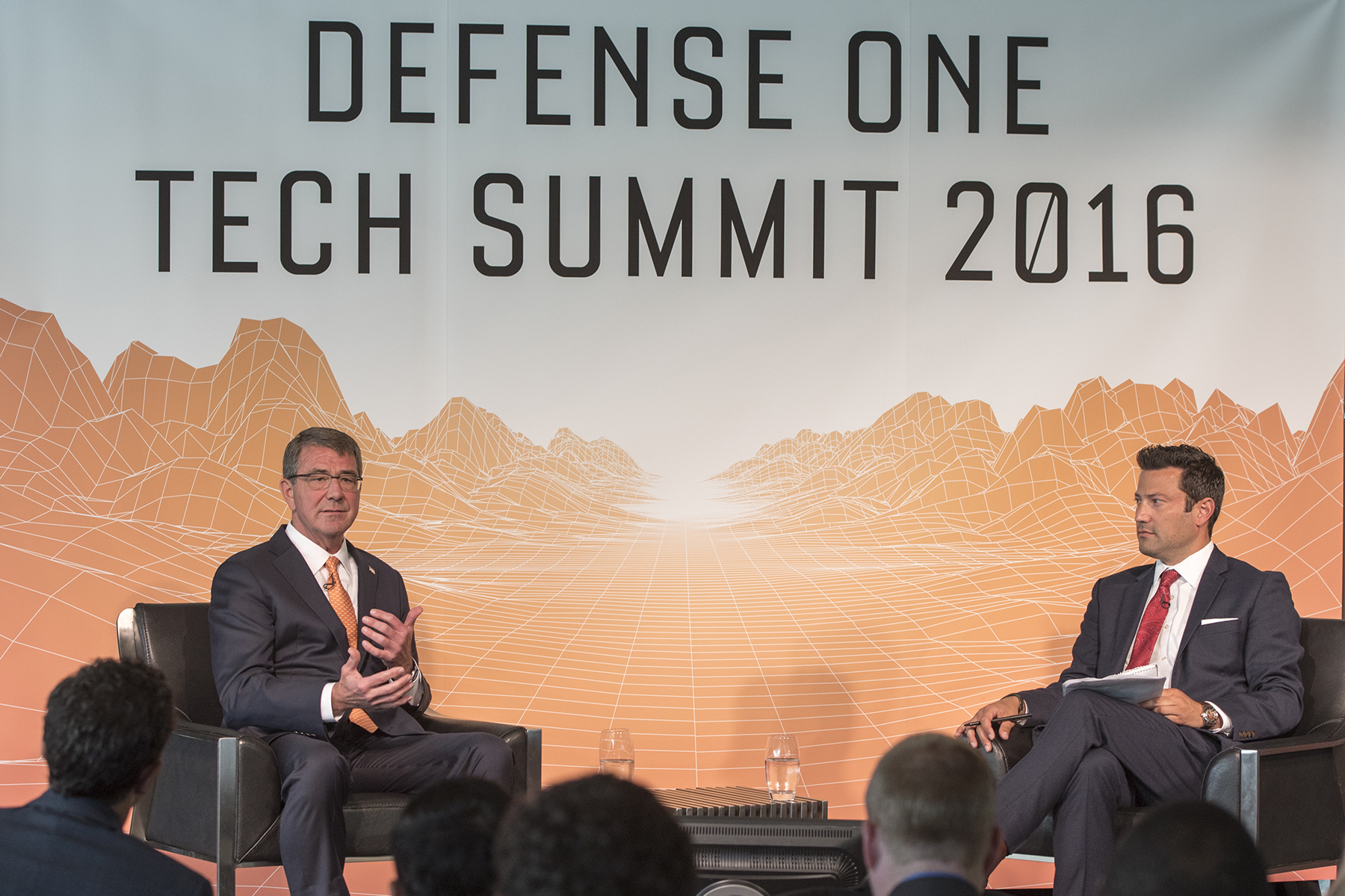 Defense Secretary Ash Carter speaks with Kevin Baron, executive editor at Defense One