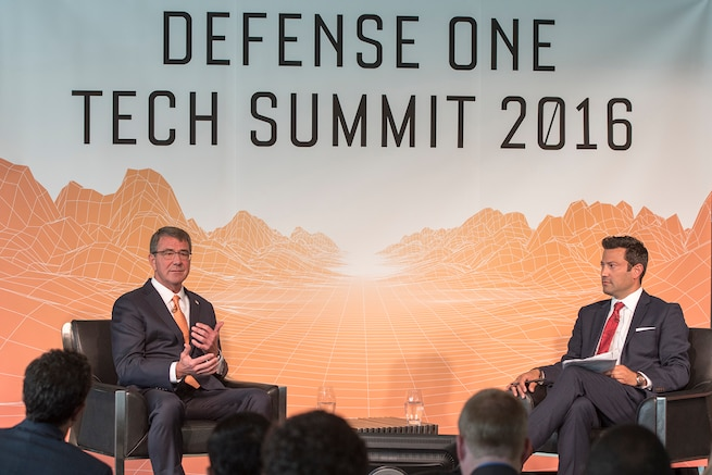 Defense Secretary Ash Carter speaks with Kevin Baron, executive editor of Defense One, during the Defense One Tech Summit in Washington D.C., June 10, 2016. DoD photo by Staff Sgt. Brigitte N. Brantley