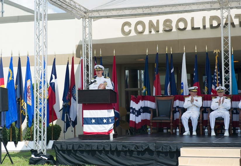 Commander Brett Pugsley gives a speech after becoming the Naval Consolidated Brig Charleston commander at a change of command ceremony June 10, 2016, at Joint Base Charleston, S.C. Commander J. Michael Cole relinquished command to Pugsley after three years of service at the Brig. The Brig aims to return as many people to honorable service as possible or return them to civilian life as productive citizens.  (U.S Air Force photo/Airman 1st Class Kevin West)