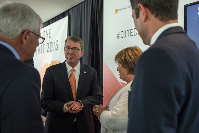Defense Secretary Ash Carter meets with Kevin Baron, executive editor of Defense One, during the Defense One Tech Summit in Washington D.C., June 10, 2016. DoD photo by Staff Sgt. Brigitte N. Brantley
