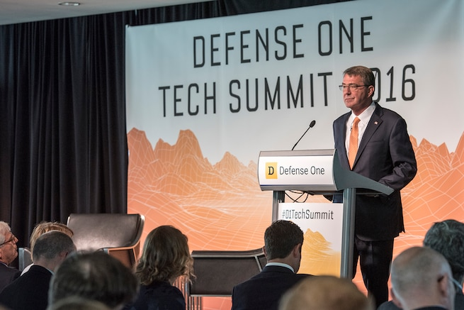 Defense Secretary Ash Carter speaks at the Defense One Tech Summit in Washington D.C., June 10, 2016. DoD photo by Staff Sgt. Brigitte N. Brantley