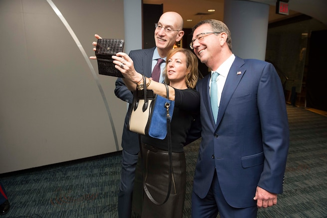 Defense secretary ash carter his wife stephanie and nba commissioner