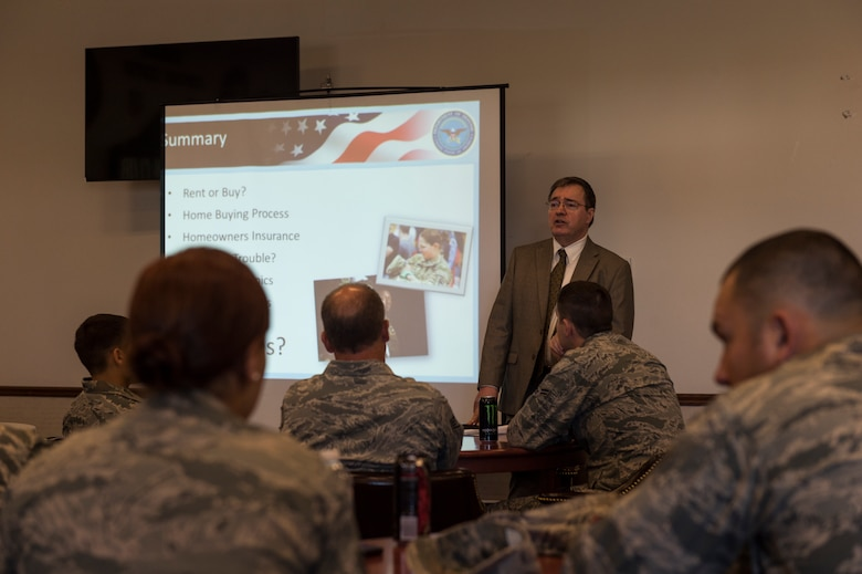 Airmen from the 107th Airlift Wing receive a class on first-time home buying from Tim Sobolewski, a personal financial counselor, as part of Wellness Week at Niagara Falls Air Reserve Station, June 12, 2016. Wellness Week features a variety of classes for members ranging from physical and spiritual fitness to financial responsibility. (U.S. Air National Guard photo by Staff Sgt. Ryan Campbell/released)