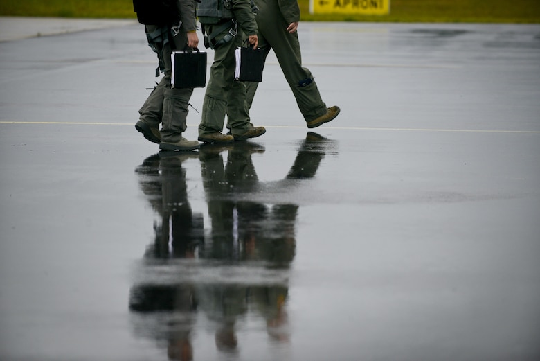 A-10 Thunderbolt II pilots assigned to the 107th Fighter Squadron from Selfridge Air National Guard Base, Michigan, walk on the flightline after landing at Lielvarde Air Base, Latvia June 11, 2016.  U.S. armed forces and Latvian airmen will participate in Saber Strike 16; a long-standing, U.S. Joint Chiefs of Staff-directed, U.S. Army Europe-led cooperative-training exercise, which has been conducted annually since 2010. This year's exercise will focus on promoting interoperability with allies and regional partners and improve joint-operational capability in a variety of missions to prepare the participating nations and units for the future.  (U.S. Air Force photo/Senior Airman Nicole Keim)