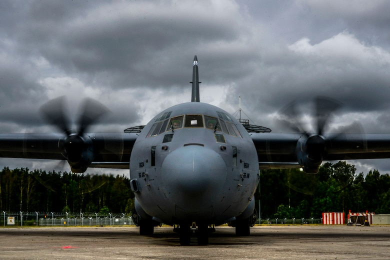 A C-130J Super Hercules is parked before take-off June 10, 2016, at Riga Airport, Latvia.  U.S. forces are in Europe participating in Saber Strike 16; a long-standing, U.S. Joint Chiefs of Staff-directed, U.S. Army Europe-led cooperative-training exercise, which has been conducted annually since 2010.  This year's exercise will focus on promoting interoperability with allies and regional partners. The United States has enduring interests in supporting peace and prosperity in Europe and bolstering the strength and vitality of NATO, which is critical to global security. (U.S. Air Force photo/Senior Airman Nicole Keim)