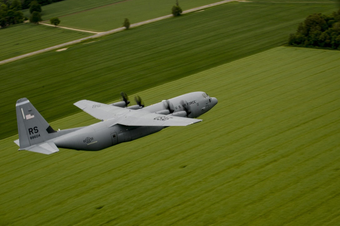 A C-130J Super Hercules assigned to the 37th Airlift Squadron flies over Riga, Latvia, June 10, 2016.  U.S. armed forces and Latvian airmen will participate in Saber Strike 16; a long-standing, U.S. Joint Chiefs of Staff-directed, U.S. Army Europe-led cooperative-training exercise, which has been conducted annually since 2010. This year's exercise will focus on promoting interoperability with allies and regional partners and improve joint-operational capability in a variety of missions to prepare the participating nations and units for the future.  (U.S. Air Force photo/Senior Airman Nicole Keim)