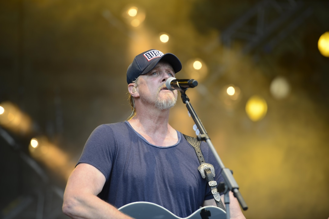Trace Adkins, country music singer, sings during a concert at Ramstein Air Base, Germany, June 11, 2016. Adkins performed for Department of Defense members as part of a three-nation tour. (U.S. Air Force photo/ Airman 1st Class Joshua Magbanua)