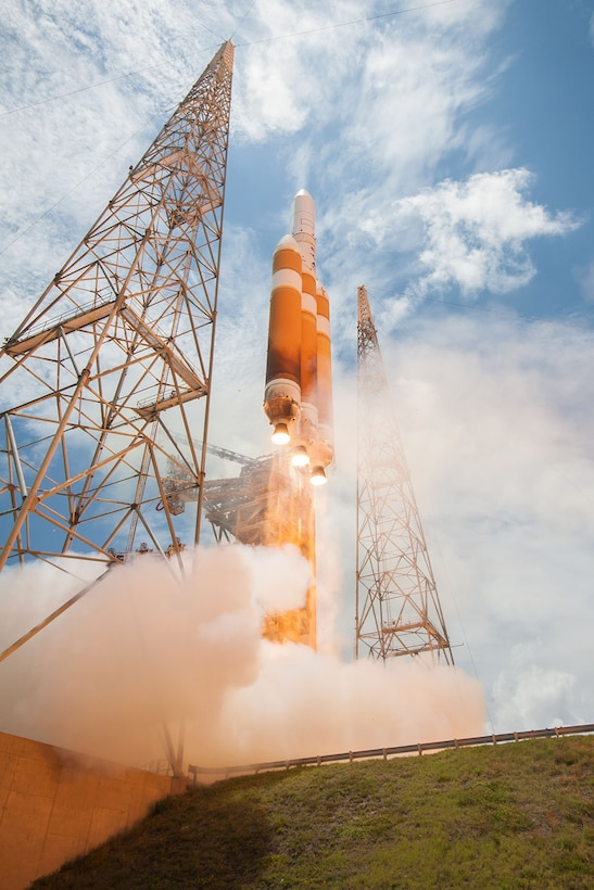 A United Launch Alliance Delta IV-Heavy rocket lifts off from Space Launch Complex 37B at Cape Canaveral Air Force Station, Florida, June 11, 2016, at 1:51 p.m. ET. The ULA Delta IV rocket carried a classified national security payload for the U.S. National Reconnaissance Office. (Courtesy photo by ULA)