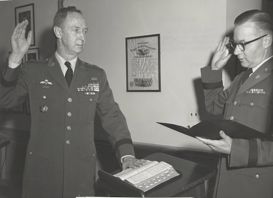 Maj. Gen. A. R. Fitch is sworn in as Assistant Chief of Staff for Intelligence by Maj. Gen. J.C. Lambert, the Adjutant General, US Army, in ceremony held at the Pentagon,  Washington, D.C., 16 October 1961