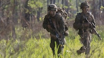 Marines with Kilo Company, 3rd Battalion, 6th Marine Regiment buddy rush the objective at Landing Zone Cardinal at Marine Corps Base Camp Lejeune, North Carolina, June 10, 2016. The battalion conducted a Marine Corps Combat Readiness Evaluation in preparation for the upcoming 24th Marine Expeditionary Unit slated in early 2017.
