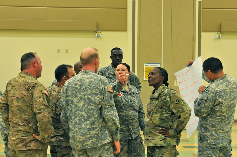 Soldiers attending an Equal Opportunity Leader Course participate in a StarPower exercise, where according to the official description of the program, 'participants have a chance to progress from one level of society to another by acquiring wealth through trading with other participants. Once the society is established, the group with the most wealth is given the right to make the rules for the game. The power group generally makes rules which maintain or increase its power and which those being governed consider to be unfair. This generally results in some sort of rebellion by the other members of the society.'  The course was hosted by the 63rd Regional Support Command, May 20-26, Armed Forces Reserve Center, Mountain View, Calif.