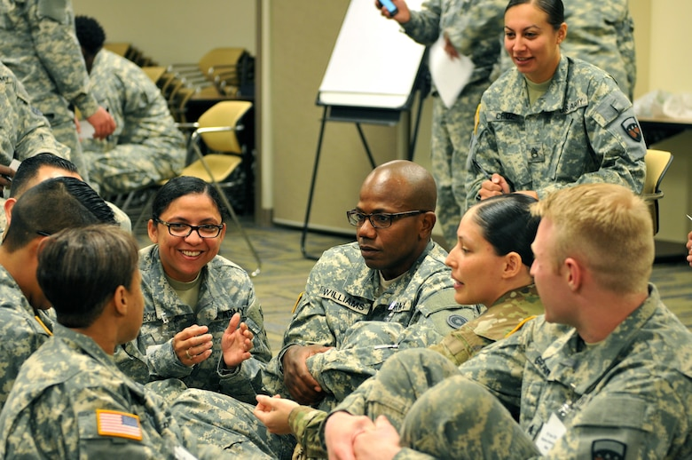 Soldiers attending an Equal Opportunity Leader Course participate in a Life Raft Activity, where Soldiers were given a confined area and a limited amount of time to vote Soldiers off the raft based on their perceptions and stereotypes of assigned characters.   The course was hosted by the 63rd Regional Support Command, May 20-26, Armed Forces Reserve Center, Mountain View, Calif.