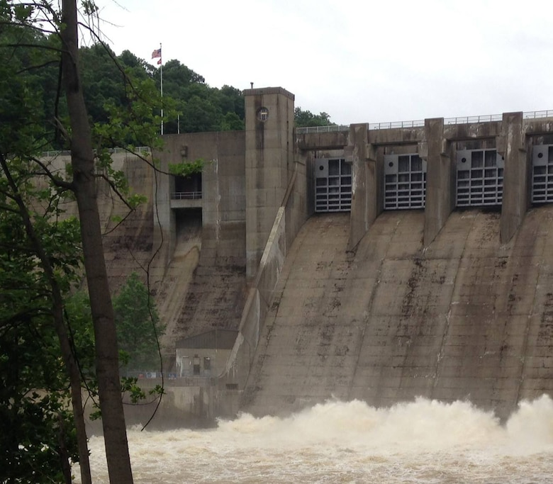 A picture of the spillway section of Mahoning Creek Dam June, 21.