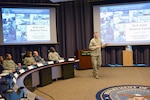 DLA Director Air Force Lt. Gen. Andy Busch addresses members of the Joint Reserve Force from throughout DLA during the Combined Drill Weekend June 11 at the McNamara Headquarters Complex, Fort Belvoir, Virginia. JRF leadership from throughout DLA attended, which focused on readiness, training and operational support to DLA.