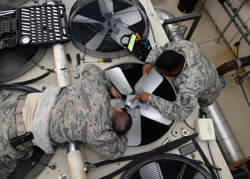 9th Civil Engineer Squadron Heating, Ventilation and Air Conditioning (HVAC) technicians Senior Airman Kyle Cvoliga (left), and Staff Sgt. Yohance Leslie prepare to remove a fan and its motor from a HVAC unit May 24, 2016, at Beale Air Force Base, California. The 9th CES HVAC flight maintains the temperature of the operational systems to the Distributed Ground System-2, the RQ-4 Global Hawk fleet's flight shelters and other global combat influences. If those temperatures rise too high it can cause a halt in mission support.  (U.S. Air Force photo by Senior Airman Ramon A. Adelan)