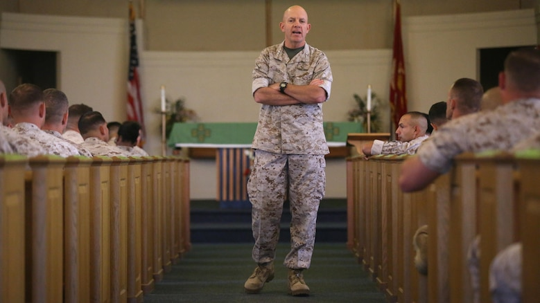 "Lt. Gen. David Berger, the commanding general of I Marine Expeditionary Force, addresses the audience at integration education training at the Marine Memorial Chapel June 7, 2016. The training highlighted the placement of female Marines into previously closed combat arms occupations and units. ""It's about managing the whole population of the Marine Corps to make sure that as a warfighting organization, we're moving people to the right assignments,"" Berger said."