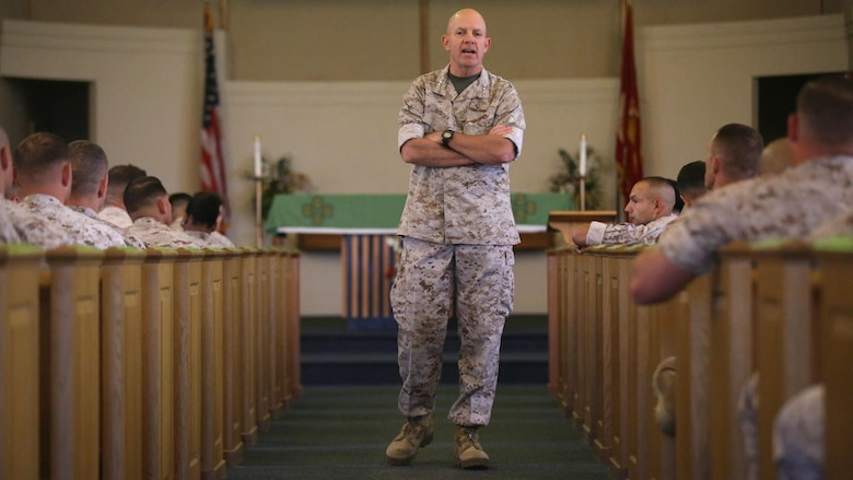 """Lt. Gen. David Berger, the commanding general of I Marine Expeditionary Force, addresses the audience at integration education training at the Marine Memorial Chapel June 7, 2016. The training highlighted the placement of female Marines into previously closed combat arms occupations and units. """"It's about managing the whole population of the Marine Corps to make sure that as a warfighting organization, we're moving people to the right assignments,"""" Berger said."""