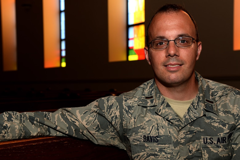 2nd Lt. Steven Davis poses for a photo at the base chapel on Joint Base Andrews, Md. June 7, 2016. Davis is a candidate in the Chaplain Candidate Intensive Internship program. Davis spent time shadowing and experiencing the strategic and organization level of the Air Force Chaplain Corps to help give him an overall perspective of our functional community. (U.S. Air Force photo/Tech. Sgt. Matt Davis)