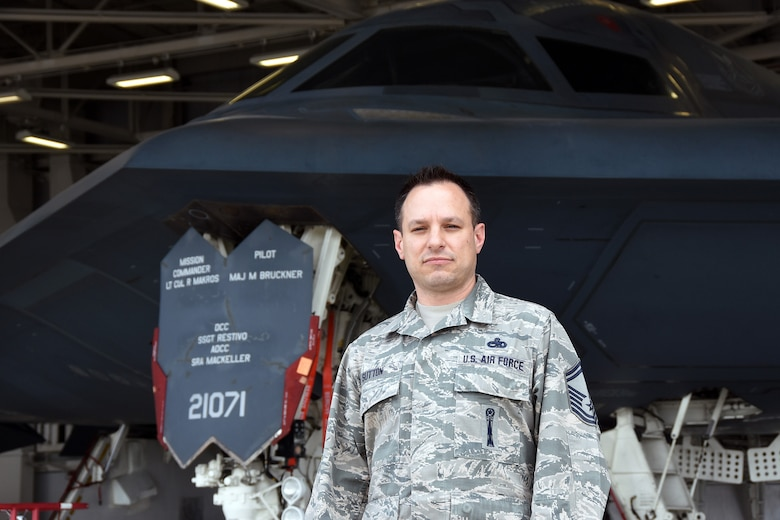 Senior Master Sgt. James Sutton stands with the 131st Bomb Wing's primary weapon system, the B-2 Spirit Stealth Bomber, at Whiteman Air Force Base, Missouri. The Air National Guard Safety Center recently selected Sutton for the prestigious 2015 Air National Guard Individual Weapons Safety Award.  (U.S. Air National Guard photo by Senior Master Sgt. Mary-Dale Amison