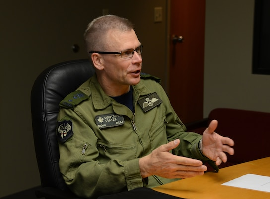 Royal Canadian Air Force Maj. Gen. Christopher J. Coates, North American Aerospace Defense Command (NORAD) director of operations, conducts an interview during his visit to USSTRATCOM Headquarters, Offutt Air Force Base, Neb., June 13, 2016. While here, Coates received briefings on USSTRATCOM's missions, participated in a roundtable discussion with senior leaders, delivered a NORAD overview and evolution briefing to members of the command and conducted an office call with U.S. Air Force Lt. Gen. Stephen W. Wilson, USSTRATCOM deputy commander. Hosting Coates' visit supports USSTRATCOM's ongoing effort to build, sustain and support partnerships with ally nations and other combatant commands. One of nine DoD unified combatant commands, USSTRATCOM has global strategic missions, assigned through the Unified Command Plan, which include strategic deterrence; space operations; cyberspace operations; joint electronic warfare; global strike; missile defense; intelligence, surveillance and reconnaissance; combating weapons of mass destruction; and analysis and targeting. (USSTRATCOM photo by Master Sgt. April Wickes)