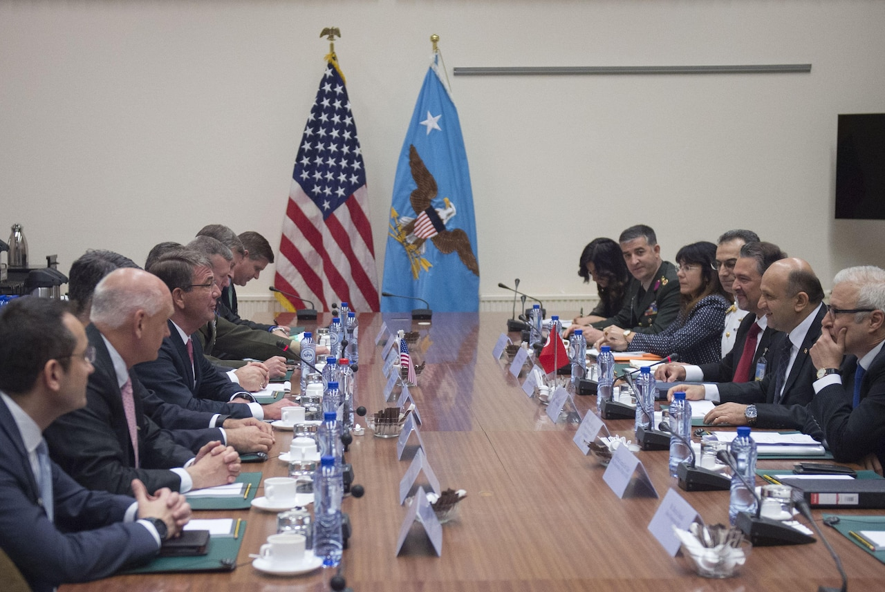 Defense Secretary Ash Carter meets with Turkish Defense Minister Fikri Isik, second from right, to discuss security issues and the U.S.-Turkey friendship in Brussels, June 14, 2016. DoD photo by Air Force Senior Master Sgt. Adrian Cadiz