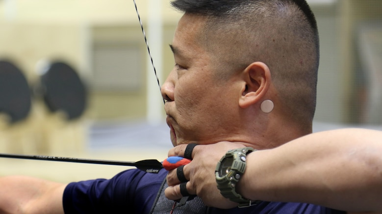 U.S. Marine Corps veteran Christopher McGleinnaiss practices archery in preparation for the 2016 Department of Defense Warrior Games at the U.S. Military Academy at West Point, New York, June 13, 2016. McGleinnaiss, an Orinda, Calif., native, is a member of the 2016 DoD Warrior Games Team Marine Corps. The 2016 DoD Warrior Games is an adaptive sports competition for wounded, ill and injured Service members and veterans from the U.S. Army, Marine Corps, Navy, Air Force, Special Operations Command and the British Armed Forces.
