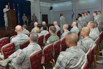 U.S. Air Force Lt. Col. Timothy Meerstein, 39th Communications Squadron incoming commander, speaks to Airmen in attendance at a change of command ceremony June 14, 2016, at Incirlik Air Base, Turkey. Prior to taking command, Meerstein served as the chief of the operations division, communications and information directorate, Headquarters Air Force Special Operations Command, Hurlburt Field, Florida. (U.S. Air Force photo by Senior Airman John Nieves Camacho/Released)