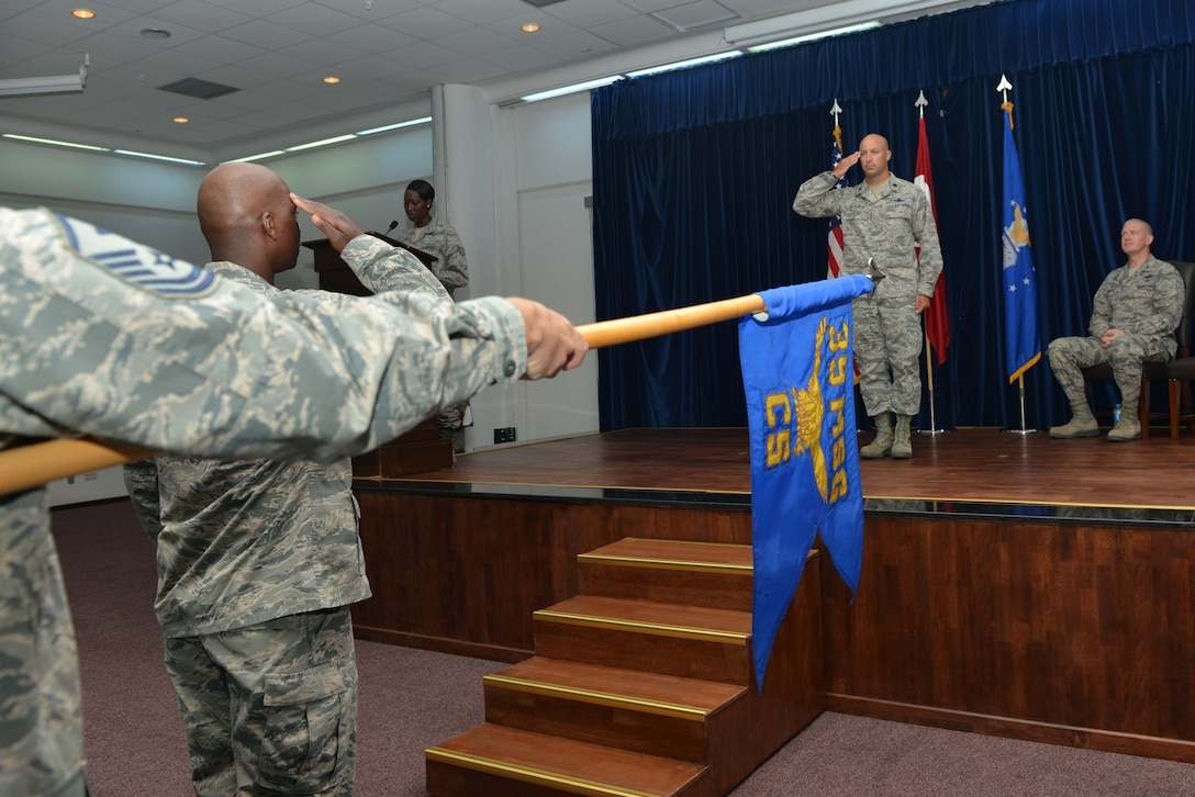 U.S. Air Force Lt. Col. Timothy Meerstein, 39th Communications Squadron incoming commander, renders his first salute to squadron personnel during a change of command ceremony June 14, 2016, at Incirlik Air Base, Turkey. The 39th CS commander is responsible for the military, civilian, and contractor personnel providing command, control, communications, computer, information services to more than 5,000 military and civilian personnel within the 39th Air Base Wing, tenant units and five geographically separated units throughout Turkey. (U.S. Air Force photo by Senior Airman John Nieves Camacho/Released)