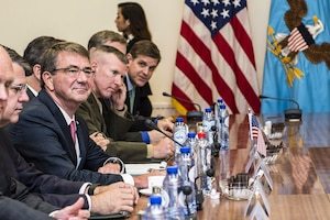 Defense Secretary Ash Carter, third from left, prepares to meet with Turkish Defense Minister Fikri Isik at NATO headquarters in Brussels, June 14, 2016. DoD photo by Air Force Staff Sgt. Brigitte N. Brantley